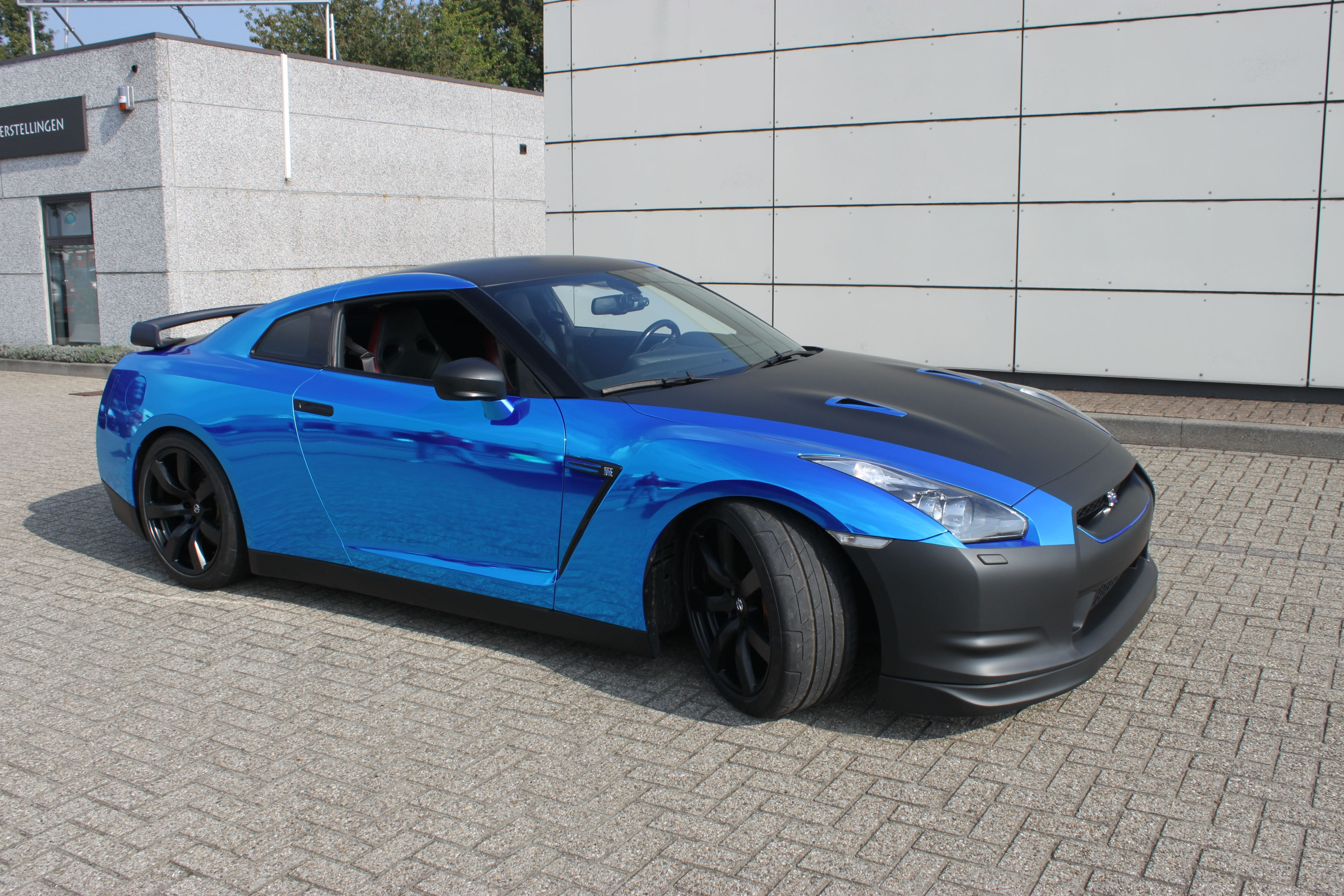 Nissan GT-R met Blue Chrome Wrap, Carwrapping door Wrapmyride.nu Foto-nr:6475, ©2020