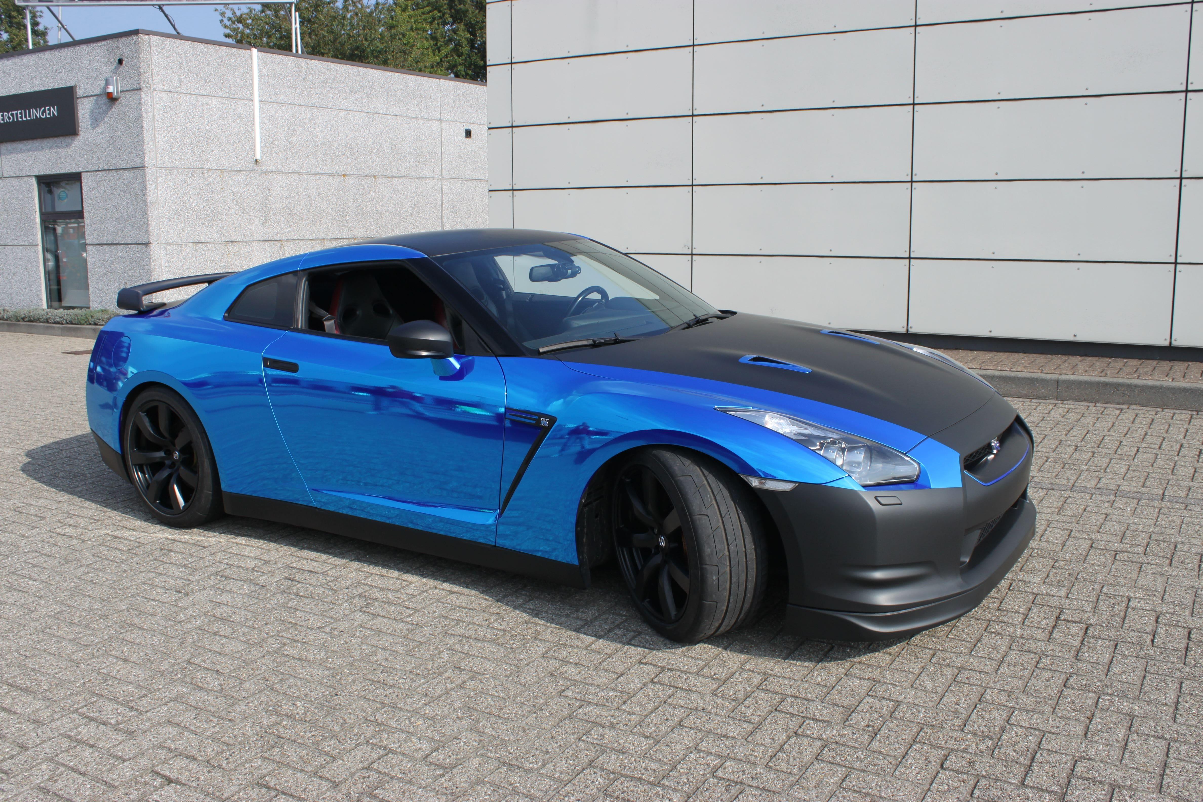 Nissan GT-R met Blue Chrome Wrap, Carwrapping door Wrapmyride.nu Foto-nr:6475, ©2021