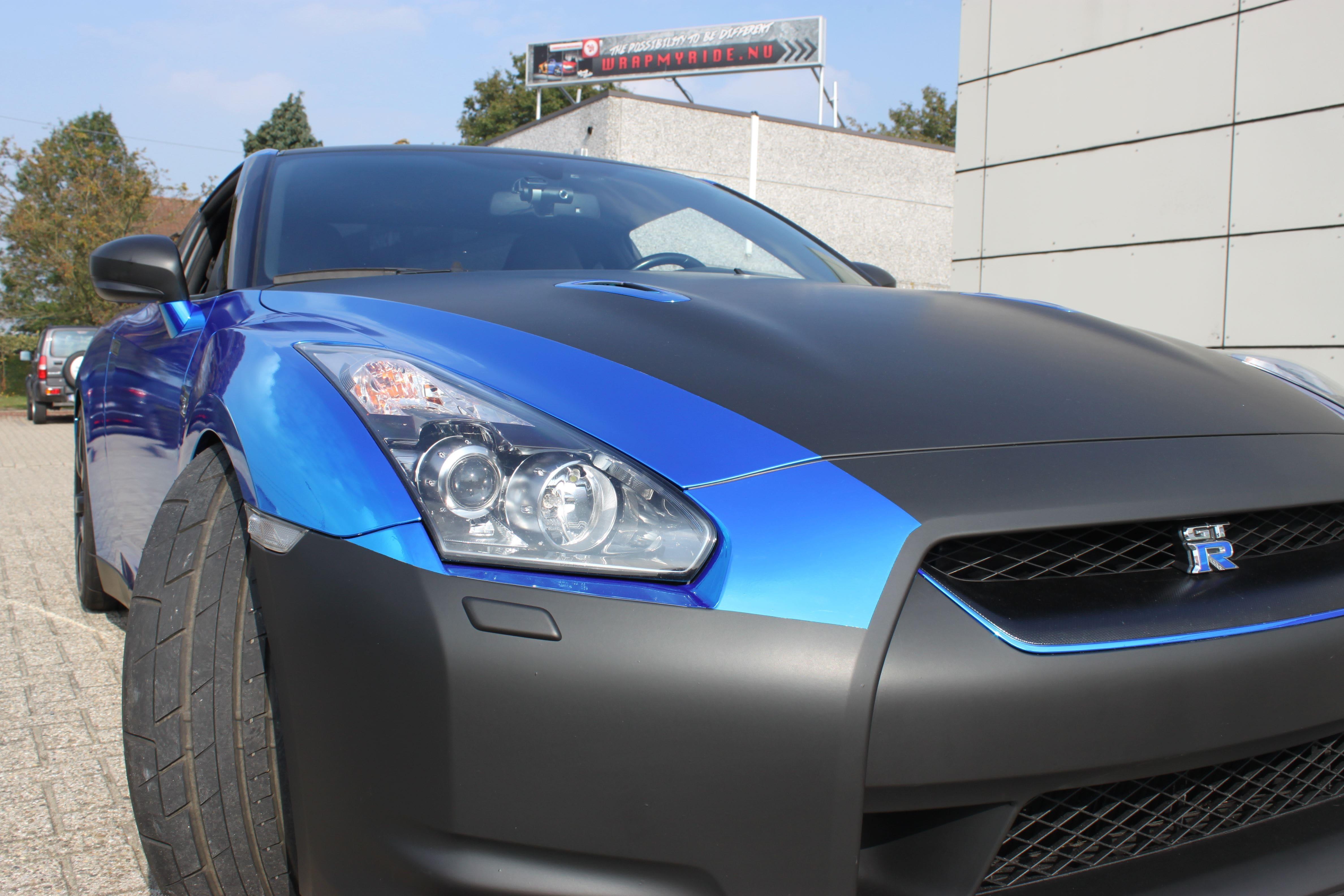 Nissan GT-R met Blue Chrome Wrap, Carwrapping door Wrapmyride.nu Foto-nr:6479, ©2021
