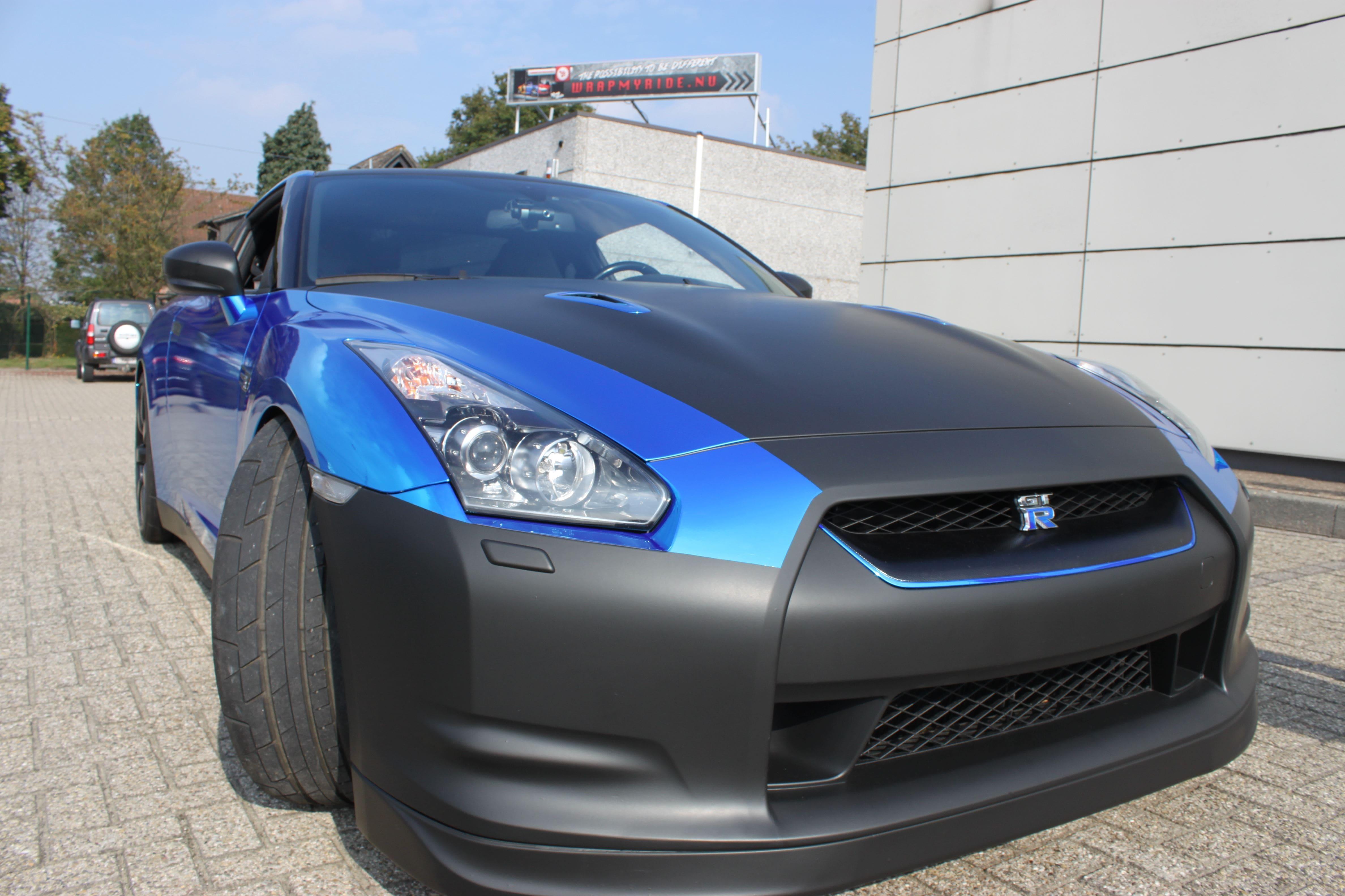 Nissan GT-R met Blue Chrome Wrap, Carwrapping door Wrapmyride.nu Foto-nr:6480, ©2021