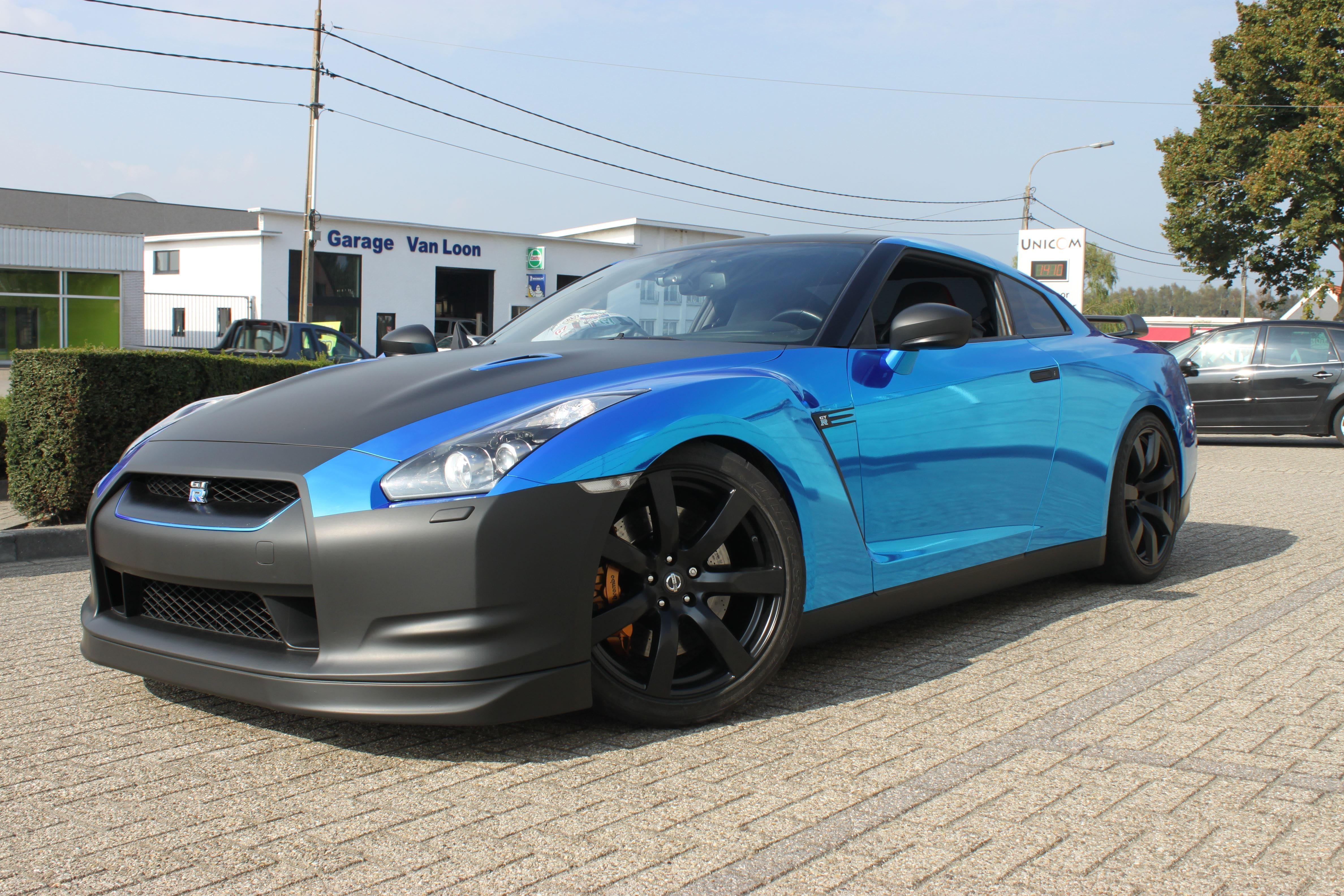 Nissan GT-R met Blue Chrome Wrap, Carwrapping door Wrapmyride.nu Foto-nr:6482, ©2021