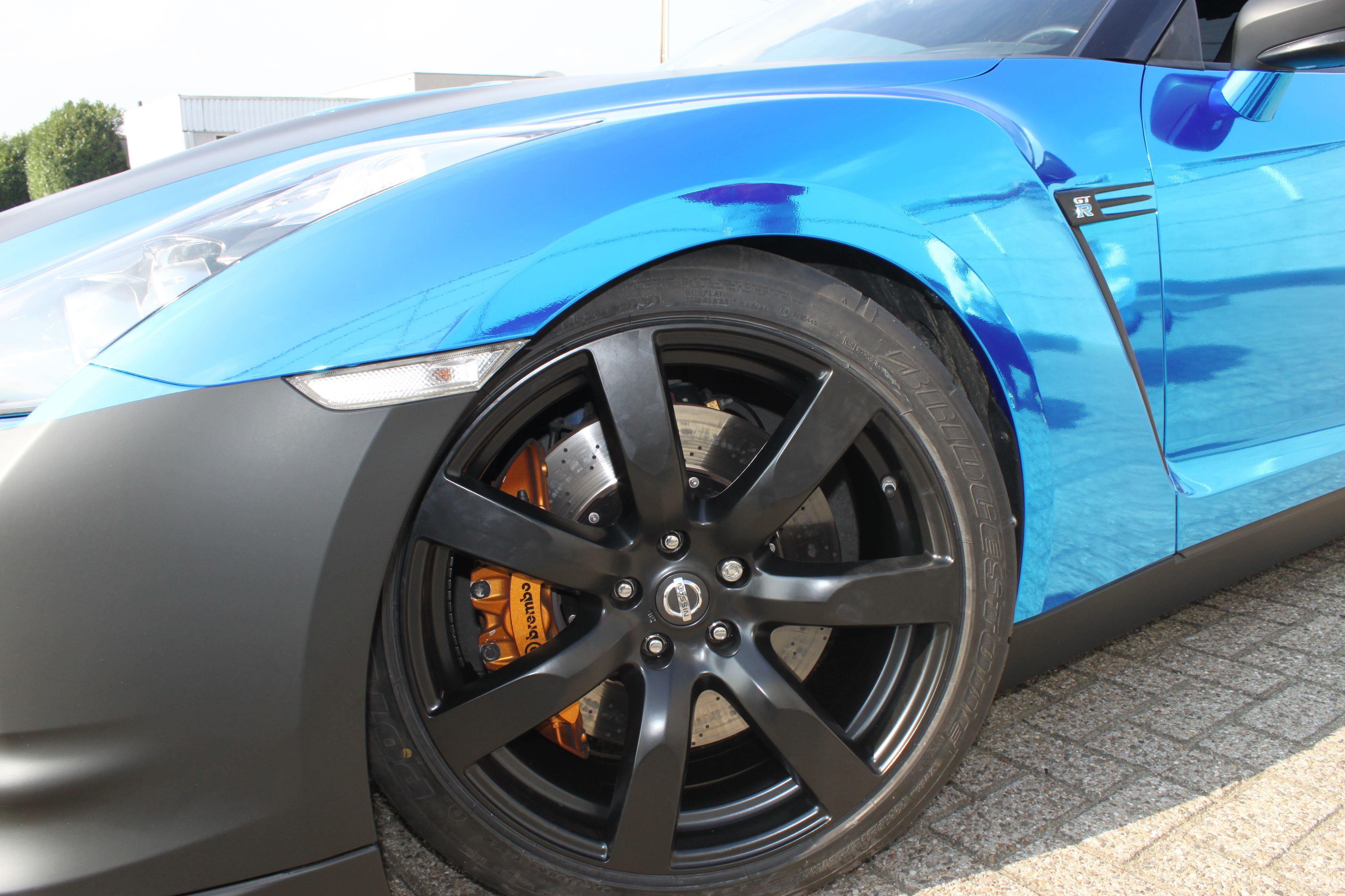 Nissan GT-R met Blue Chrome Wrap, Carwrapping door Wrapmyride.nu Foto-nr:6484, ©2021