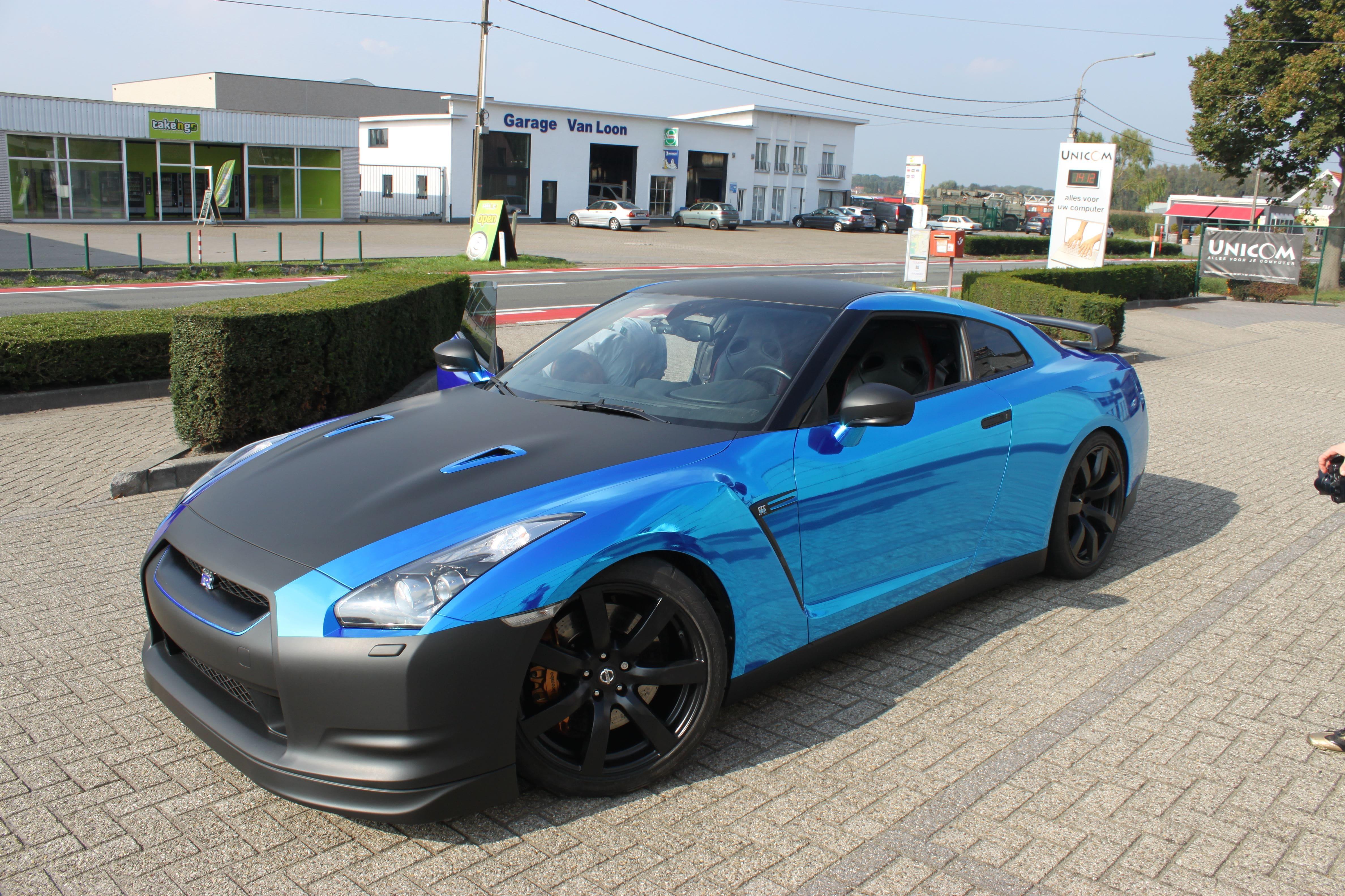 Nissan GT-R met Blue Chrome Wrap, Carwrapping door Wrapmyride.nu Foto-nr:6485, ©2021
