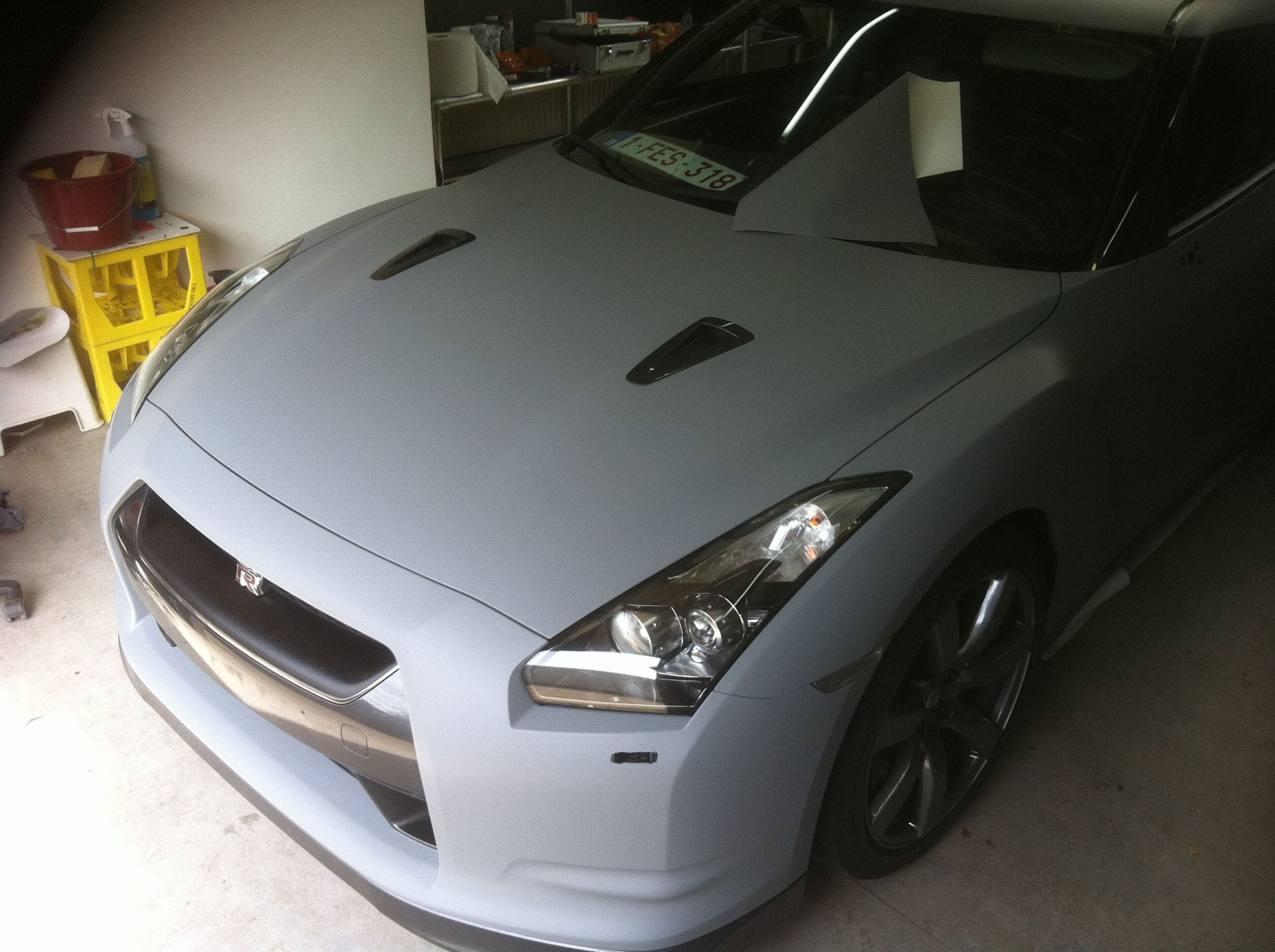 Nissan GT-R met Mat Grijze Wrap, Carwrapping door Wrapmyride.nu Foto-nr:6550, ©2021