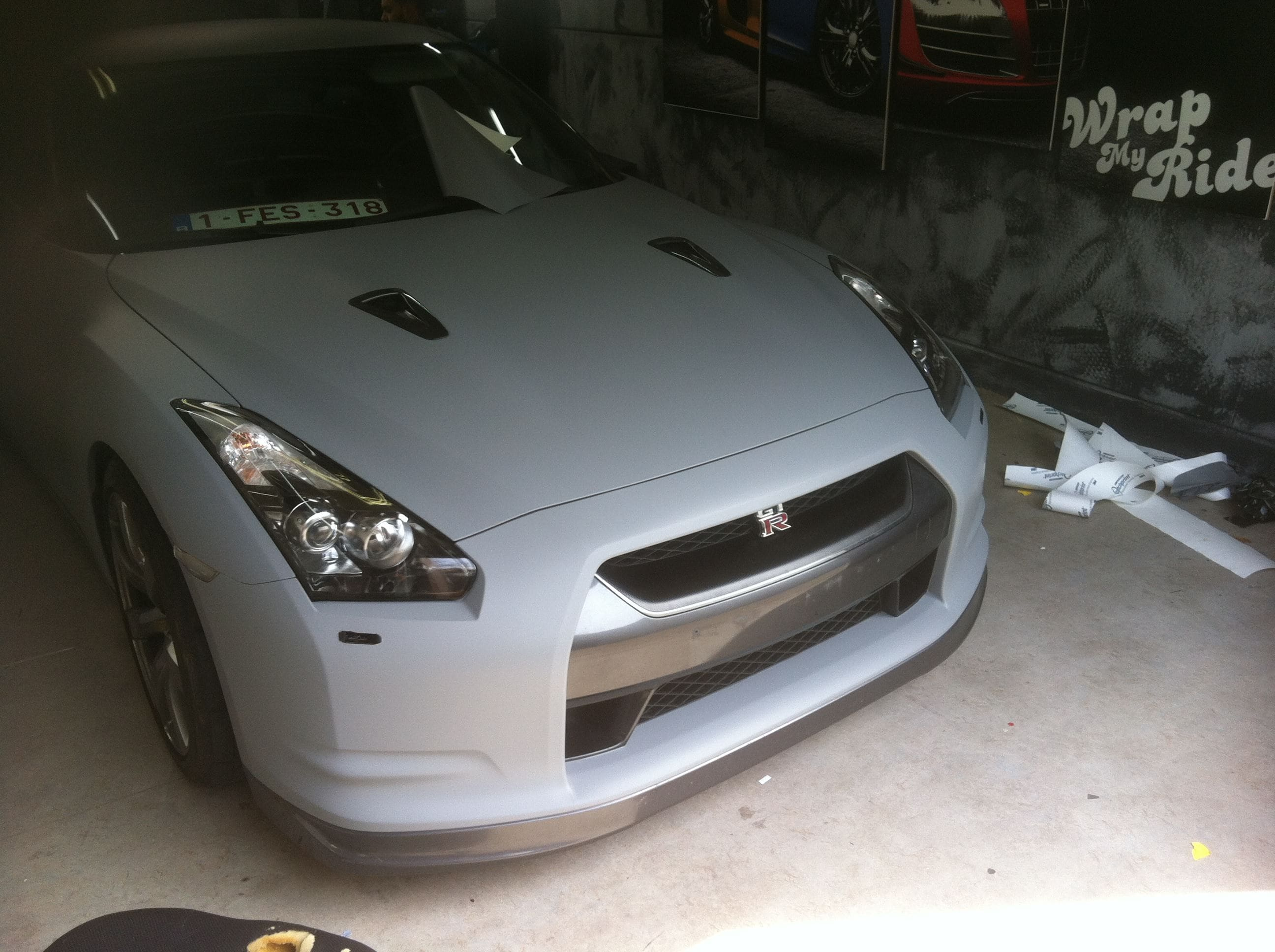 Nissan GT-R met Mat Grijze Wrap, Carwrapping door Wrapmyride.nu Foto-nr:6551, ©2020