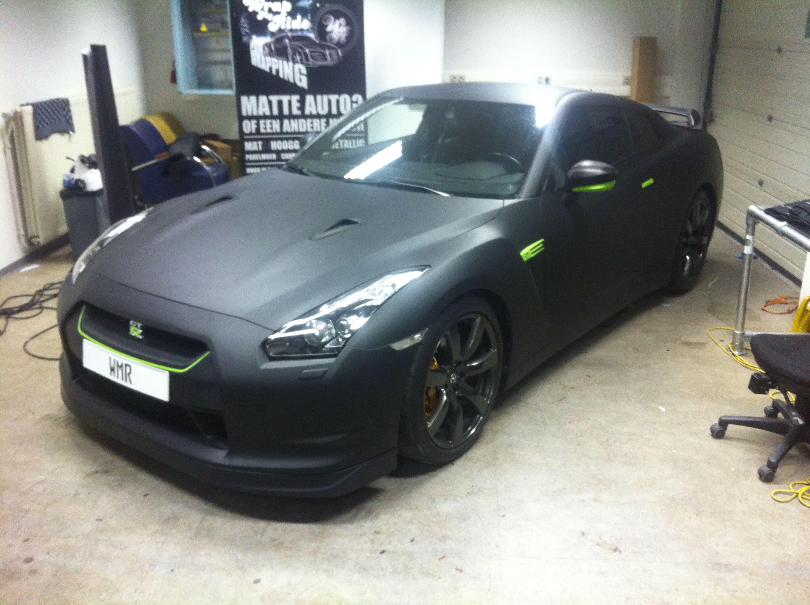 Nissan GT-R met Mat Zwarte Wrap, Carwrapping door Wrapmyride.nu Foto-nr:6593, ©2021