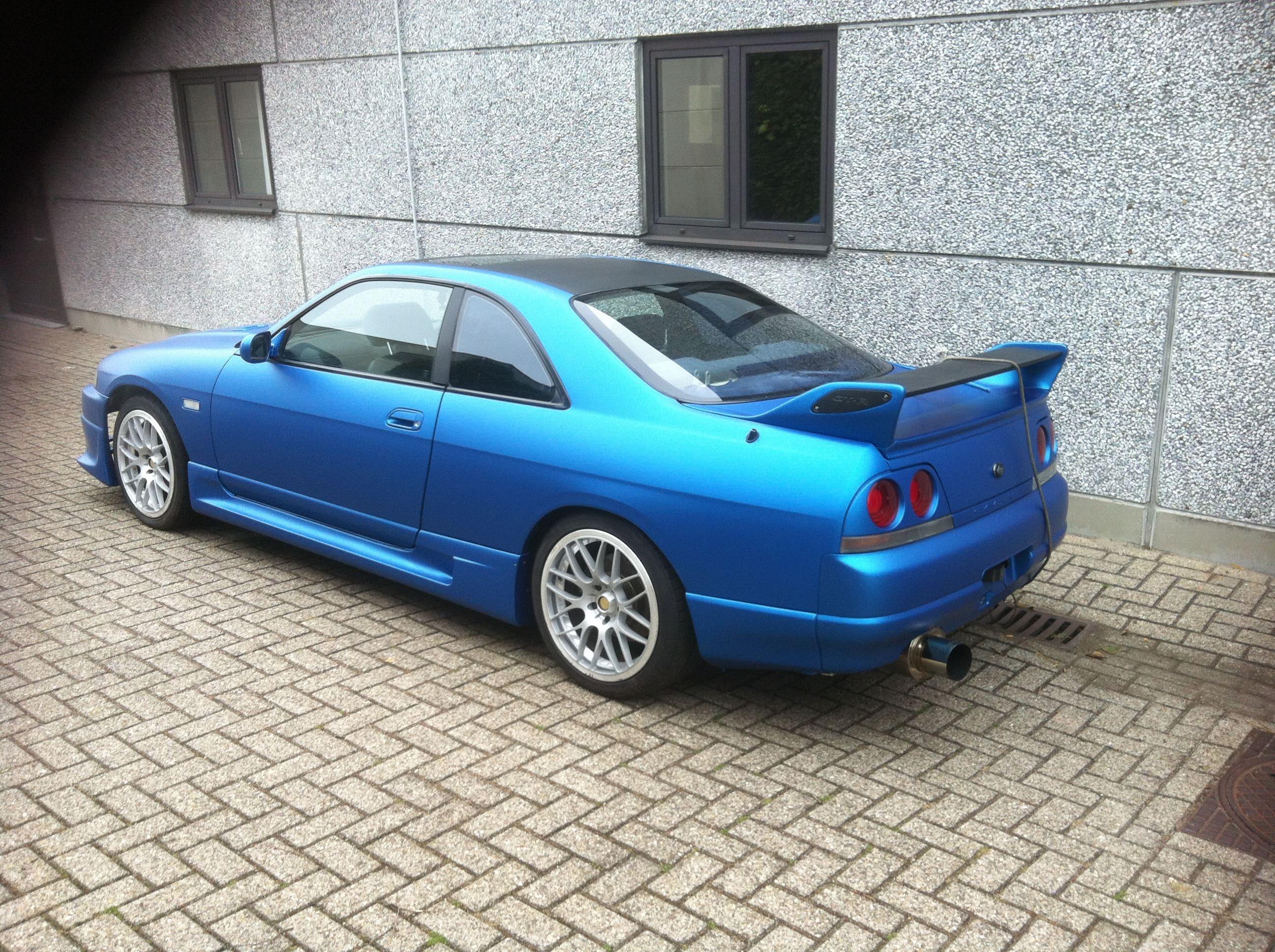Nissan Skyline met Mat Blauwe Wrap, Carwrapping door Wrapmyride.nu Foto-nr:6604, ©2020