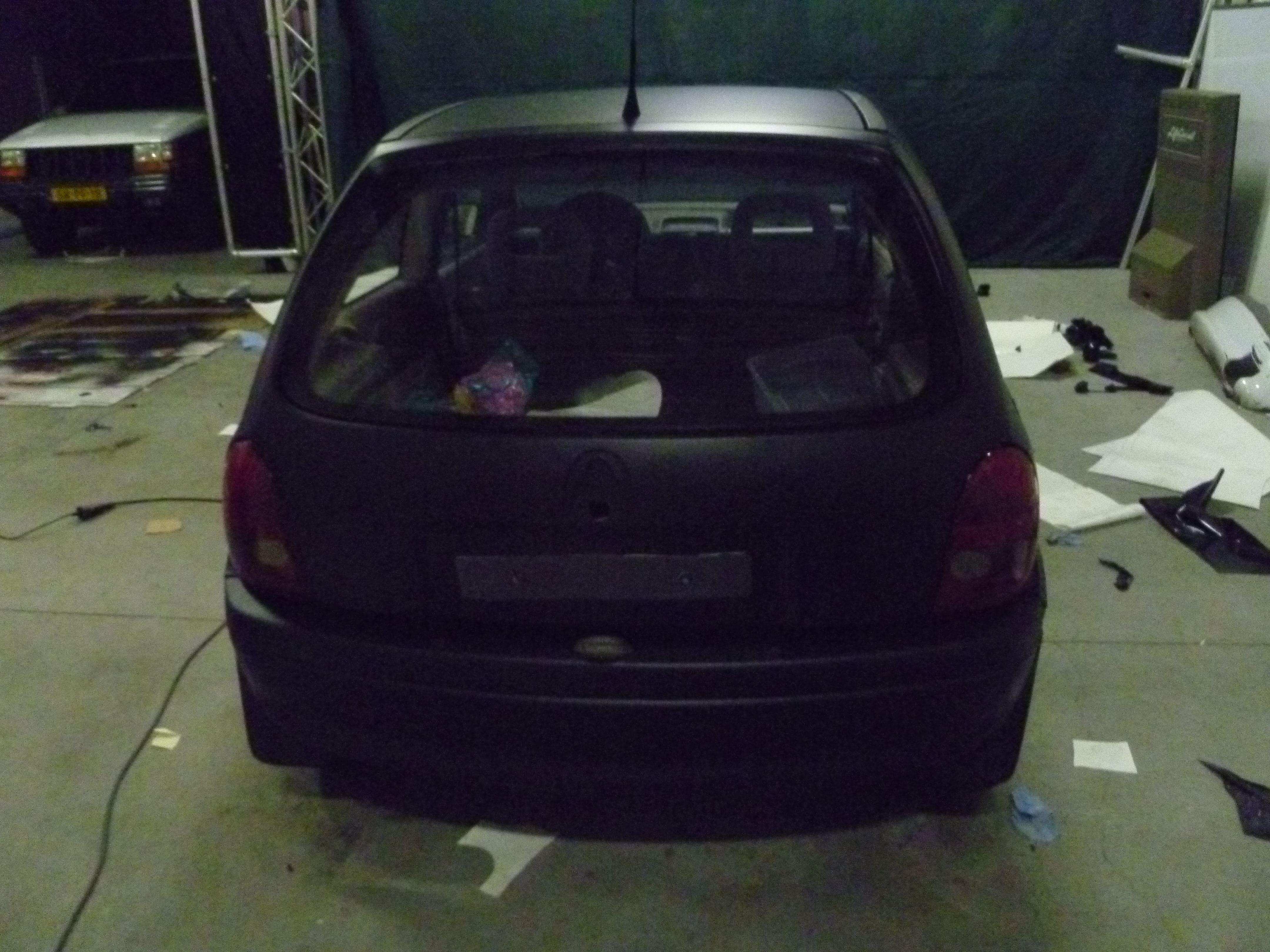 Opel Corsa B met Zwart Paarse Striping, Carwrapping door Wrapmyride.nu Foto-nr:6641, ©2021