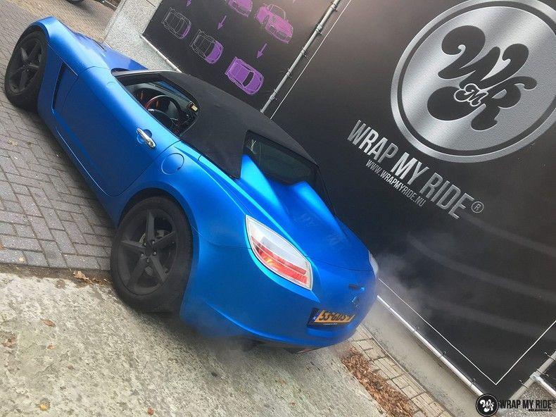 Opel GT speedster satin perfect bleu, Carwrapping door Wrapmyride.nu Foto-nr:12633, ©2020