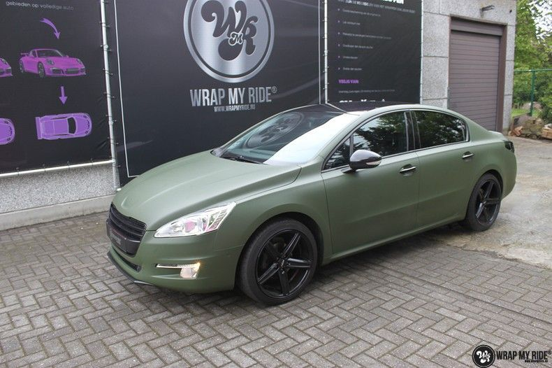 Peugeot 508 3m matte military green, Carwrapping door Wrapmyride.nu Foto-nr:11386, ©2020