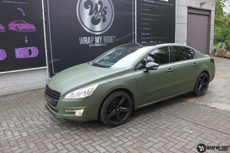 Peugeot 508 3m matte military green, Carwrapping door Wrapmyride.nu Foto-nr:11386, ©2021