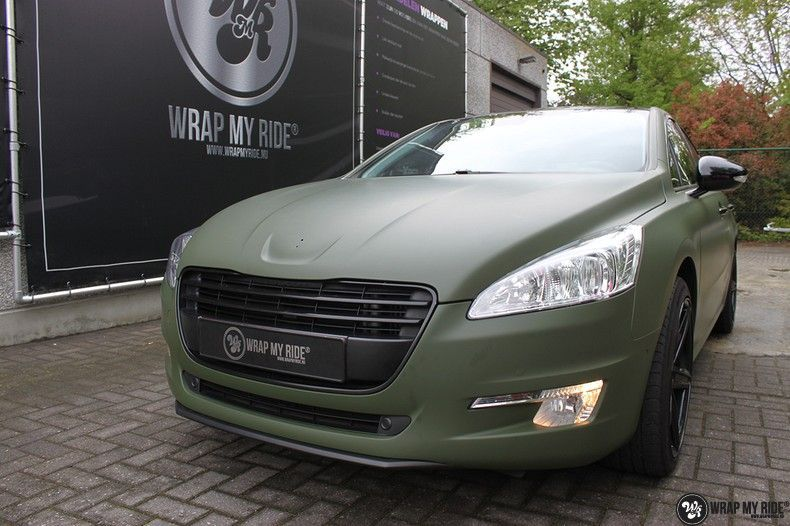 Peugeot 508 3m matte military green, Carwrapping door Wrapmyride.nu Foto-nr:11385, ©2020