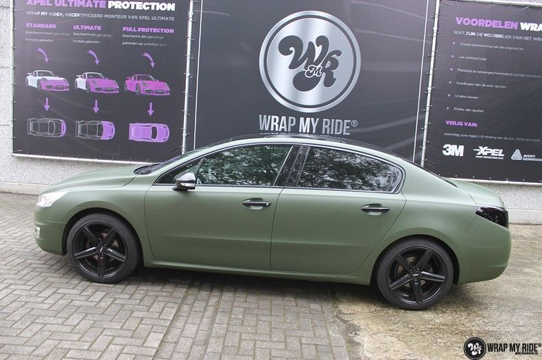 Peugeot 508 3m matte military green, Carwrapping door Wrapmyride.nu Foto-nr:11379, ©2020