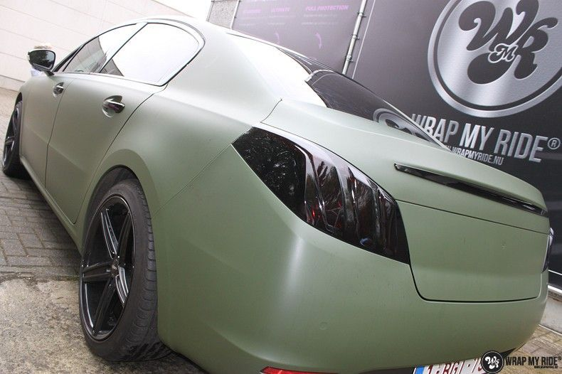 Peugeot 508 3m matte military green, Carwrapping door Wrapmyride.nu Foto-nr:11377, ©2020