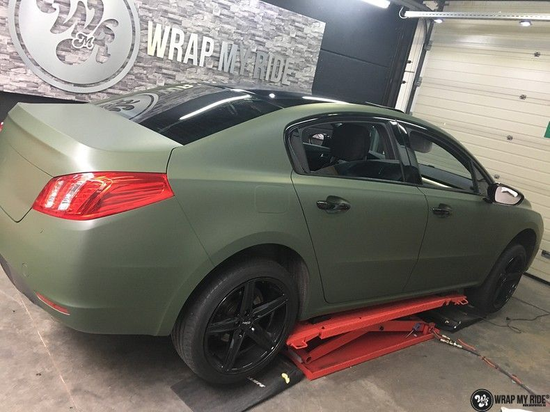 Peugeot 508 3m matte military green, Carwrapping door Wrapmyride.nu Foto-nr:11365, ©2020