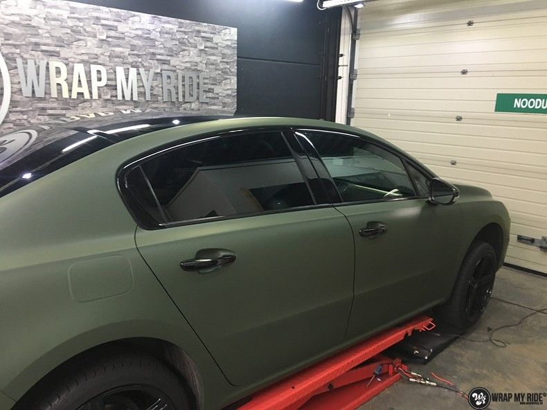 Peugeot 508 3m matte military green, Carwrapping door Wrapmyride.nu Foto-nr:11360, ©2020