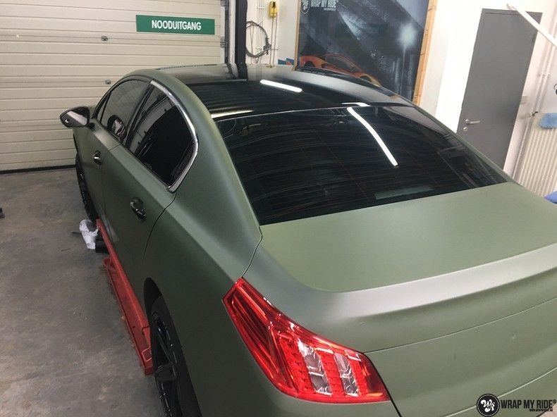 Peugeot 508 3m matte military green, Carwrapping door Wrapmyride.nu Foto-nr:11362, ©2020