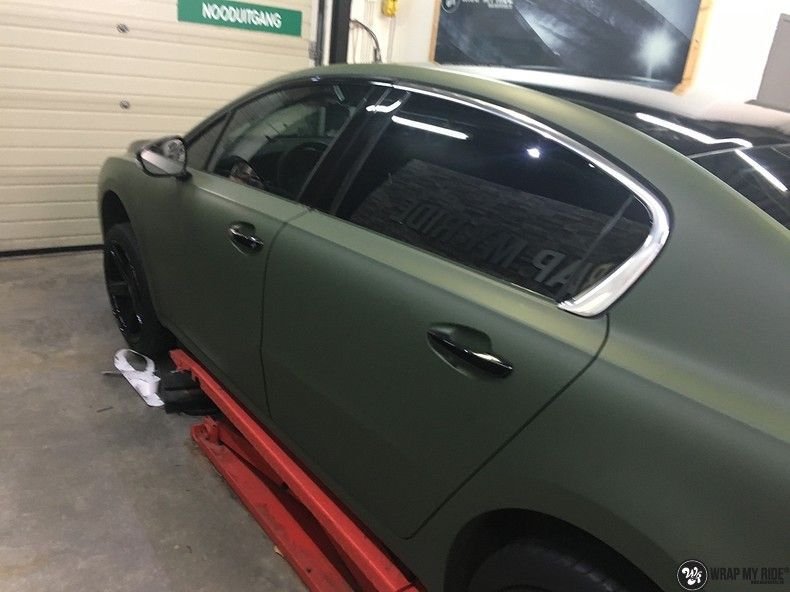 Peugeot 508 3m matte military green, Carwrapping door Wrapmyride.nu Foto-nr:11358, ©2020