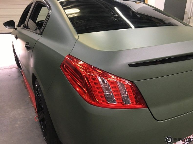 Peugeot 508 3m matte military green, Carwrapping door Wrapmyride.nu Foto-nr:11388, ©2020