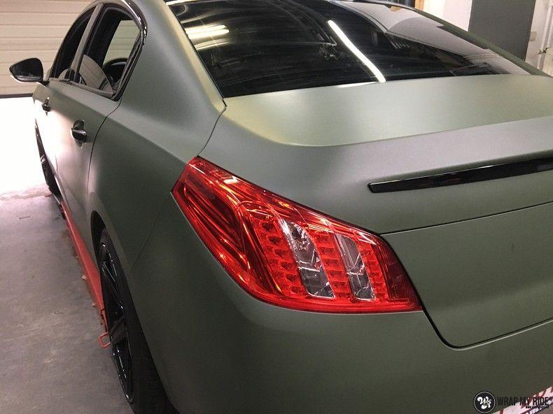 Peugeot 508 3m matte military green, Carwrapping door Wrapmyride.nu Foto-nr:11388, ©2021