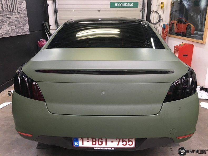 Peugeot 508 3m matte military green, Carwrapping door Wrapmyride.nu Foto-nr:11387, ©2020