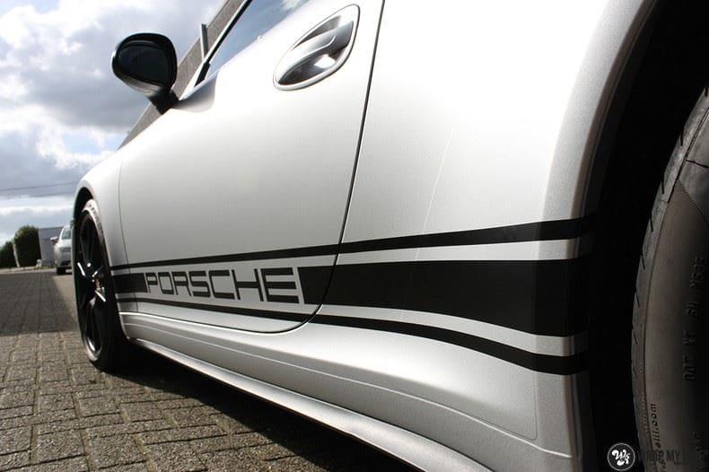 Porsche 997 Satin White Aluminium, Carwrapping door Wrapmyride.nu Foto-nr:9661, ©2018