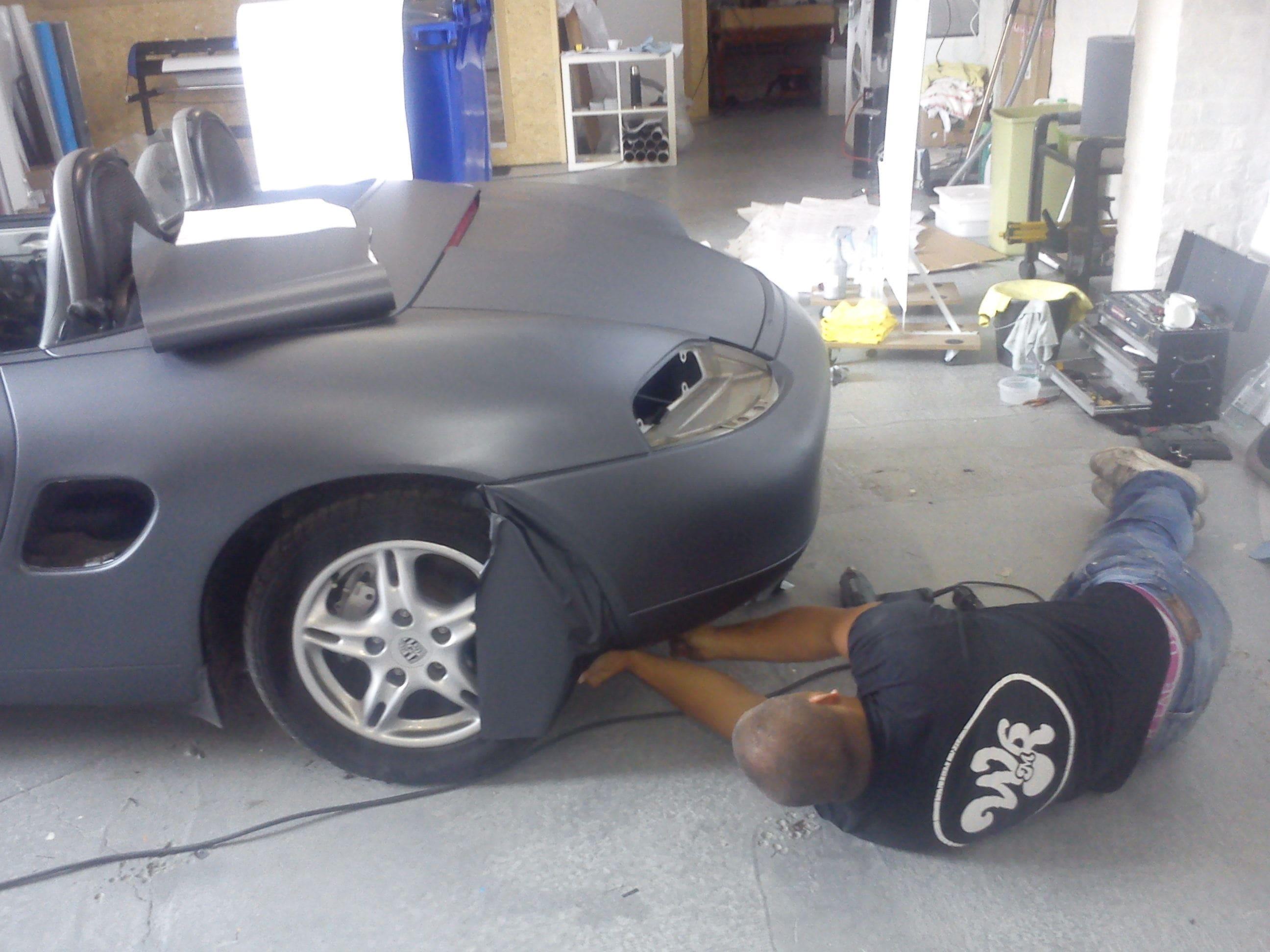 Porsche Boxter met Gunpowder Wrap, Carwrapping door Wrapmyride.nu Foto-nr:6720, ©2020