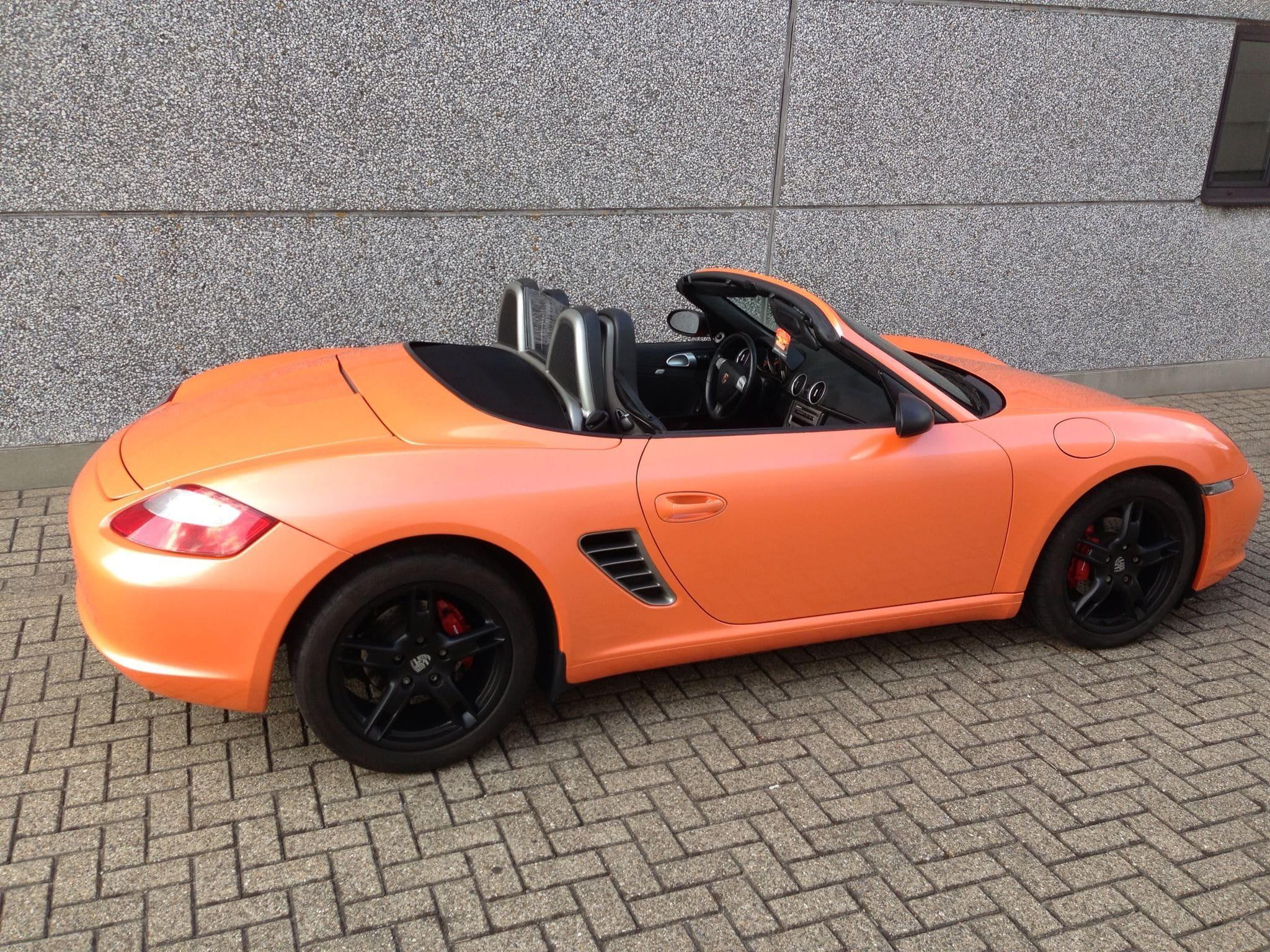 Porsche Boxter met Pearl Orange Wrap, Carwrapping door Wrapmyride.nu Foto-nr:6711, ©2021