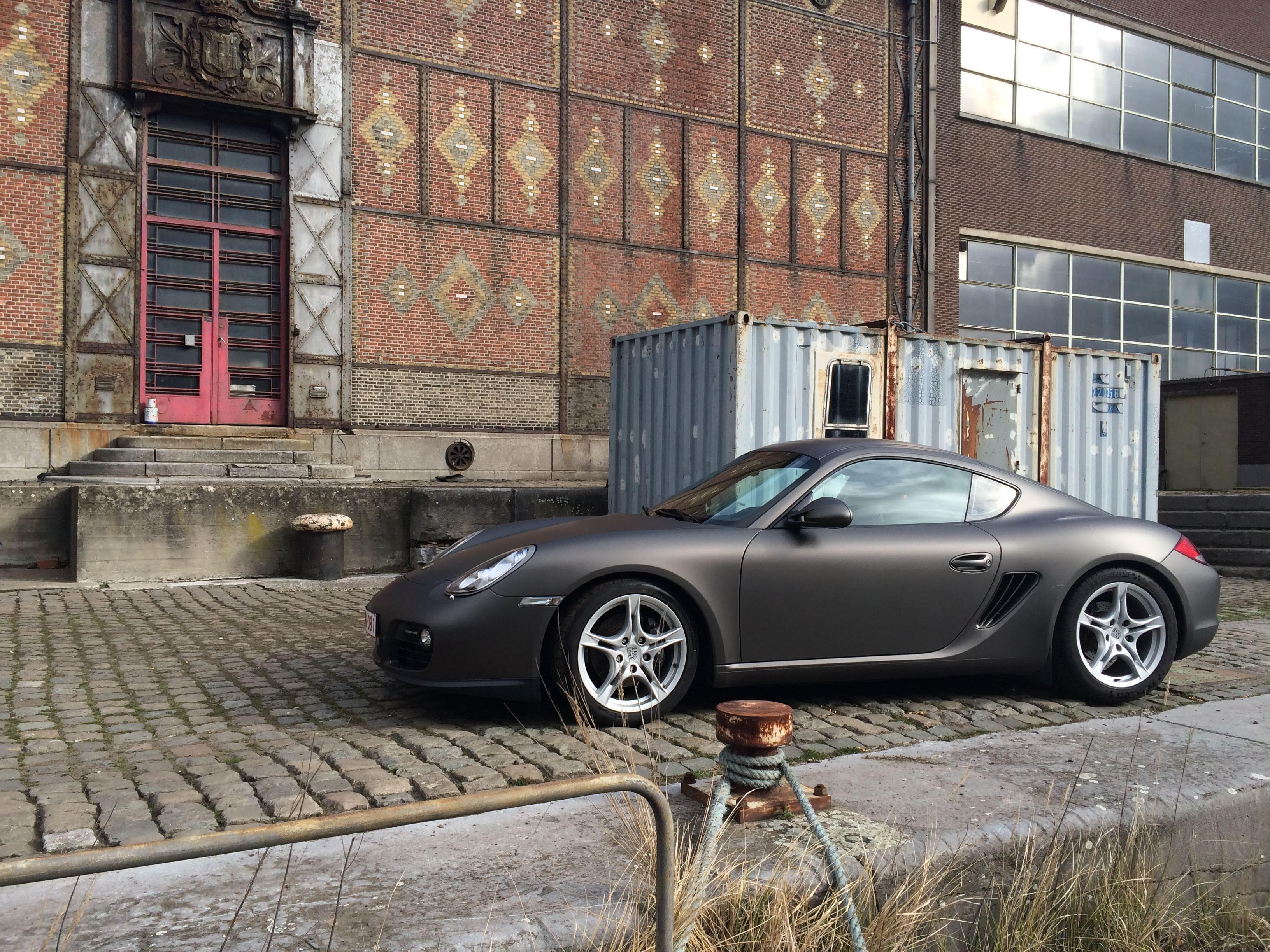 Porsche Cayman met Mat Charcoal Matte Wrap, Carwrapping door Wrapmyride.nu Foto-nr:7084, ©2021