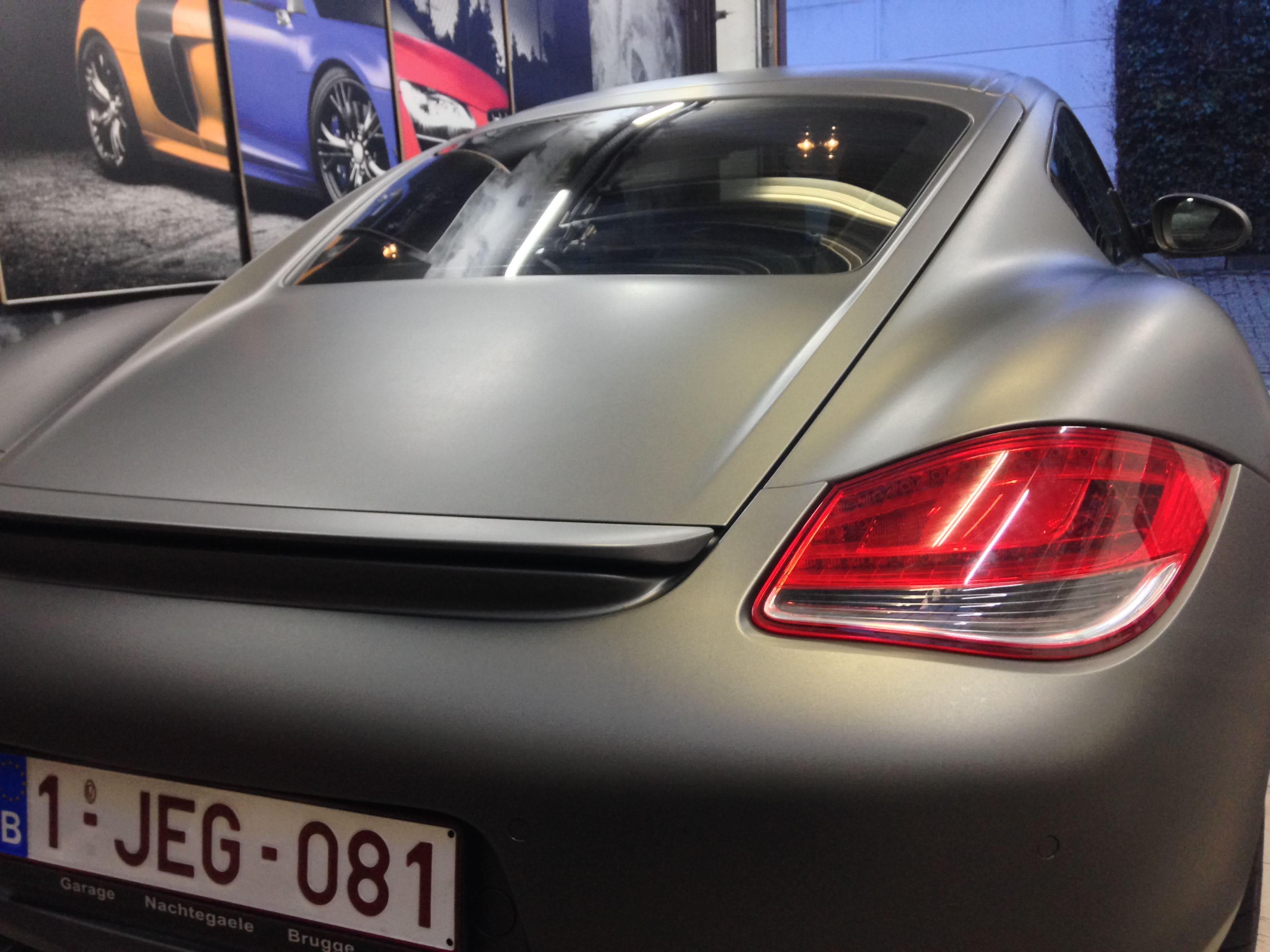 Porsche Cayman met Mat Charcoal Matte Wrap, Carwrapping door Wrapmyride.nu Foto-nr:7091, ©2021