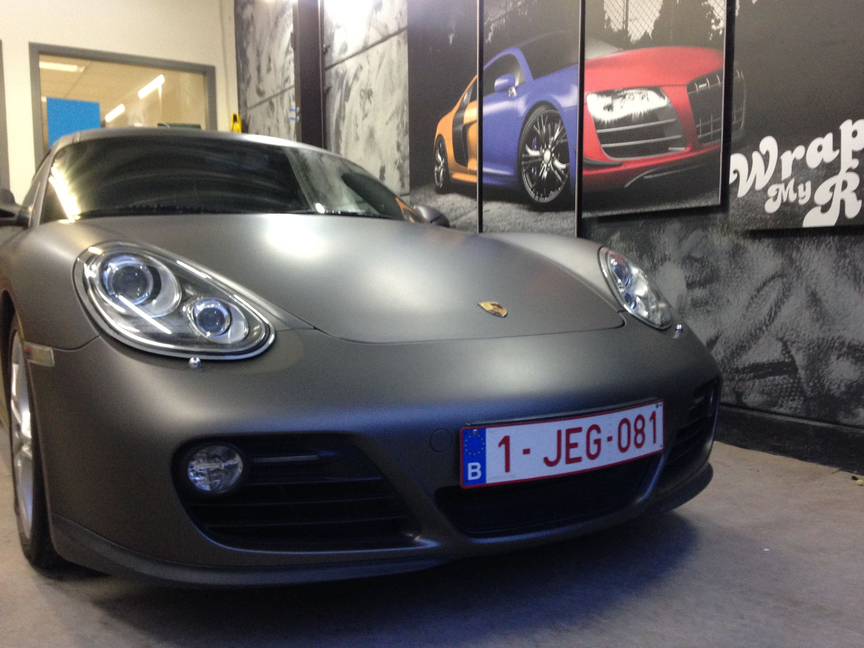 Porsche Cayman met Mat Charcoal Matte Wrap, Carwrapping door Wrapmyride.nu Foto-nr:7095, ©2021