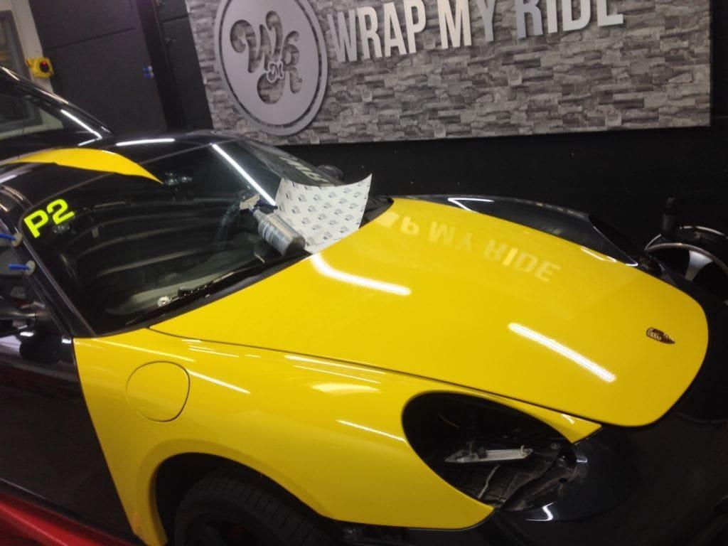 Porsche Cayman Yellow, Carwrapping door Wrapmyride.nu Foto-nr:8840, ©2021