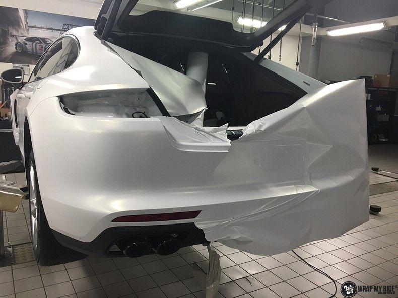 Porsche Panamera 4S Satin Frozen Vanilla, Carwrapping door Wrapmyride.nu Foto-nr:10536, ©2018