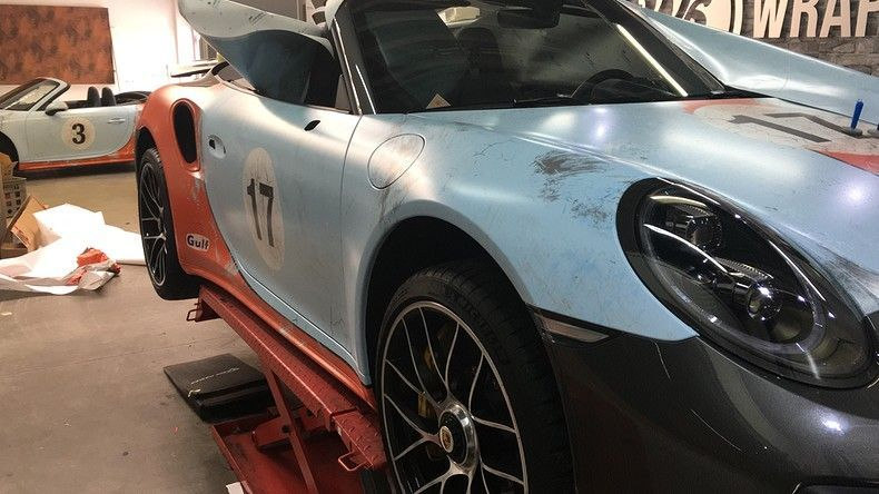 Porsche turbo S gulf weathered Livery, Carwrapping door Wrapmyride.nu Foto-nr:12127, ©2019