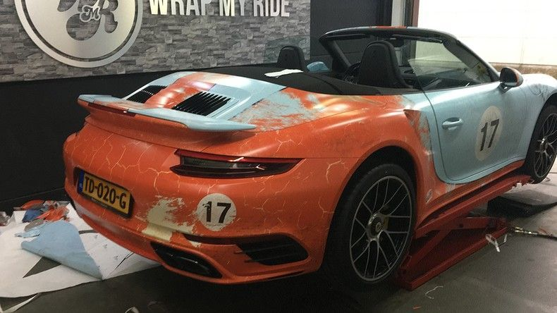 Porsche turbo S gulf weathered Livery, Carwrapping door Wrapmyride.nu Foto-nr:12072, ©2019