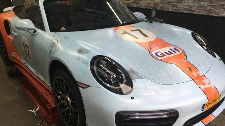 Porsche turbo S gulf weathered Livery, Carwrapping door Wrapmyride.nu Foto-nr:12071, ©2019
