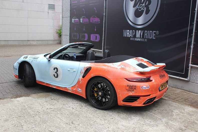 Porsche turbo S gulf weathered Livery, Carwrapping door Wrapmyride.nu Foto-nr:12125, ©2019