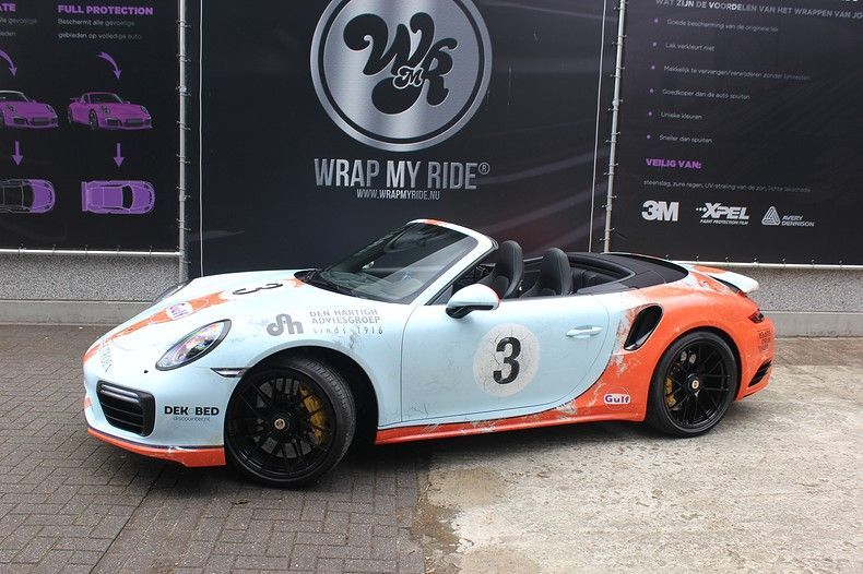 Porsche turbo S gulf weathered Livery, Carwrapping door Wrapmyride.nu Foto-nr:12124, ©2019