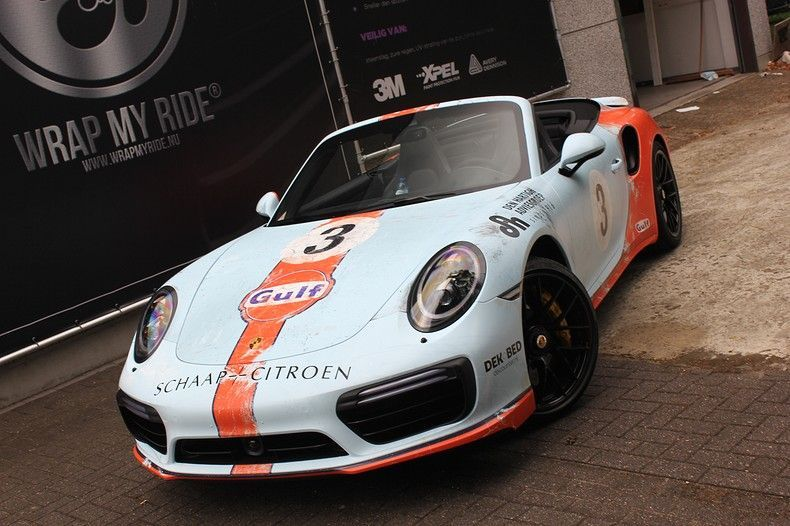 Porsche turbo S gulf weathered Livery, Carwrapping door Wrapmyride.nu Foto-nr:12123, ©2019