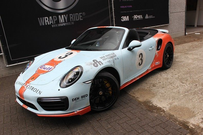 Porsche turbo S gulf weathered Livery, Carwrapping door Wrapmyride.nu Foto-nr:12119, ©2019