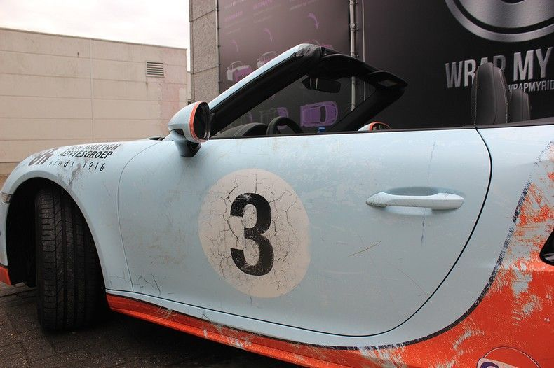 Porsche turbo S gulf weathered Livery, Carwrapping door Wrapmyride.nu Foto-nr:12110, ©2019