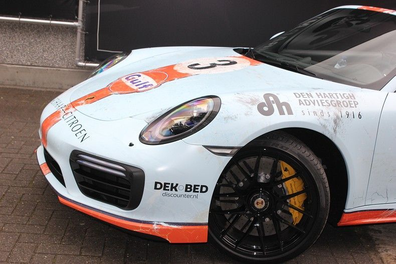 Porsche turbo S gulf weathered Livery, Carwrapping door Wrapmyride.nu Foto-nr:12108, ©2019