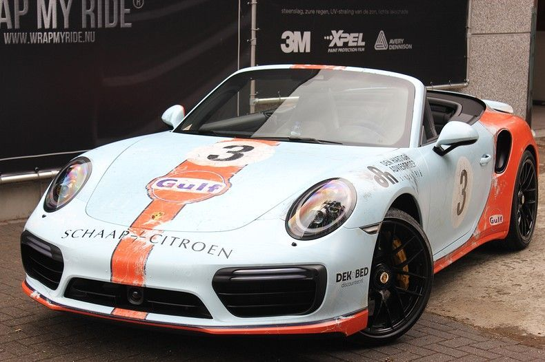 Porsche turbo S gulf weathered Livery, Carwrapping door Wrapmyride.nu Foto-nr:12107, ©2019