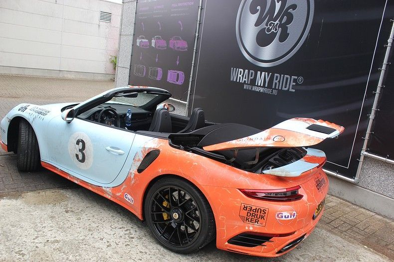 Porsche turbo S gulf weathered Livery, Carwrapping door Wrapmyride.nu Foto-nr:12105, ©2019