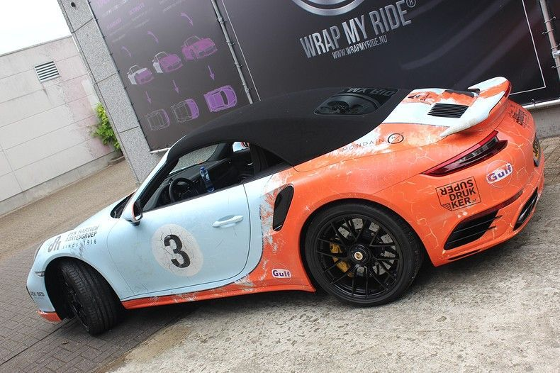 Porsche turbo S gulf weathered Livery, Carwrapping door Wrapmyride.nu Foto-nr:12104, ©2019