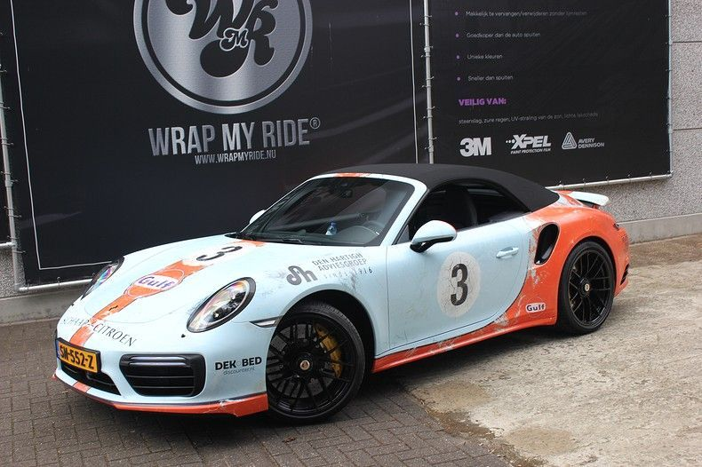 Porsche turbo S gulf weathered Livery, Carwrapping door Wrapmyride.nu Foto-nr:12103, ©2019