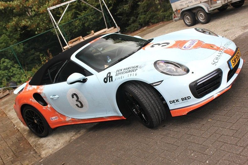 Porsche turbo S gulf weathered Livery, Carwrapping door Wrapmyride.nu Foto-nr:12102, ©2019