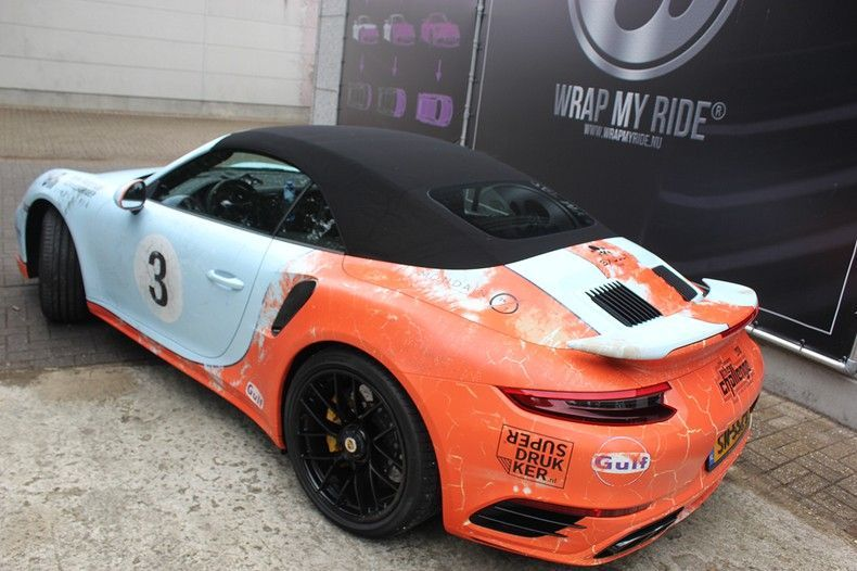 Porsche turbo S gulf weathered Livery, Carwrapping door Wrapmyride.nu Foto-nr:12098, ©2019