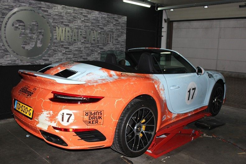 Porsche turbo S gulf weathered Livery, Carwrapping door Wrapmyride.nu Foto-nr:12087, ©2019