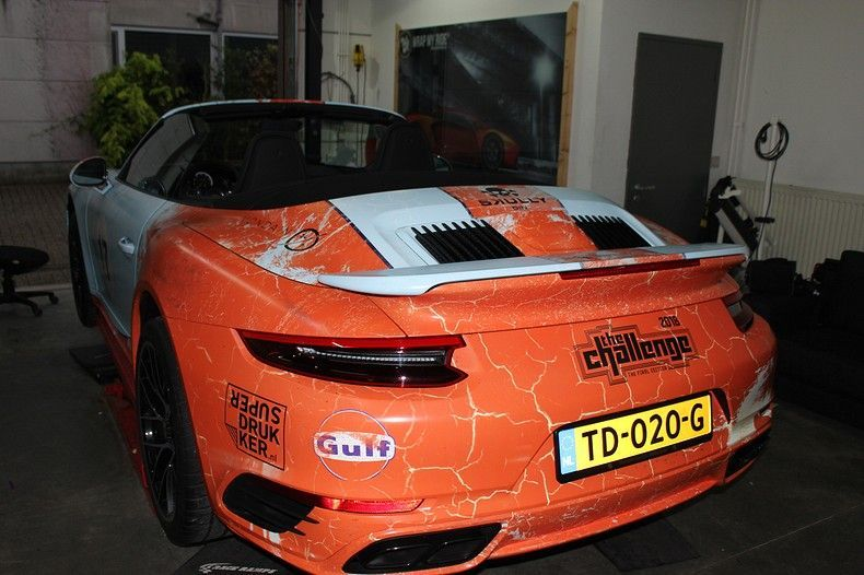 Porsche turbo S gulf weathered Livery, Carwrapping door Wrapmyride.nu Foto-nr:12085, ©2019